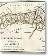 1786 Bocage Map Of Corinthia Sicyonia And Achaia In Ancient Greece Metal Print