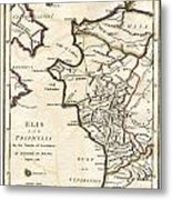 1786 Bocage Map Of Elis And Triphylia In Ancient Greece  Metal Print