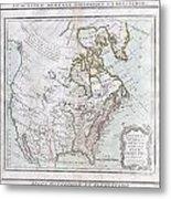 1789 Brion De La Tour Map Of North America Metal Print