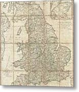 1790 Faden Map Of The Roads Of Great Britain Or England Metal Print