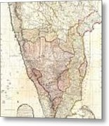 1793 Faden Wall Map Of India Metal Print