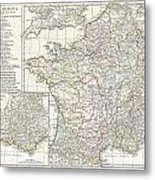 1794 Anville Map Of Gaul  Or France In Ancient Roman Times Metal Print