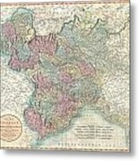 1799 Cary Map Of Piedmont Italy  Milan Genoa  Metal Print
