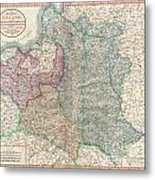 1799 Cary Map Of Poland Prussia And Lithuania  Metal Print