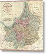 1799 Cary Map Of Prussia And Lithuania  Metal Print