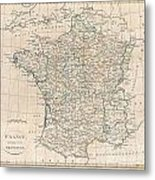 1799 Clement Cruttwell Map Of France In Provinces Metal Print