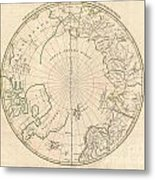 1799 Clement Cruttwell Map Of North Pole Metal Print