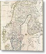 1799 Clement Cruttwell Map Of Sweden Denmark And Norway Metal Print