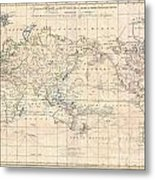 1799 Cruttwell Map Of The World On Mercators Projection Metal Print