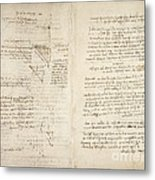 Notes By Leonardo Da Vinci, Codex Arundel Metal Print