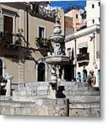 Another View Of An Old Unused Fountain In Taormina Sicily Metal Print