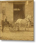 1800's Vintage Photo Of Horse Drawn Carriage Metal Print
