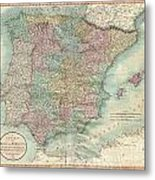 1801 Cary Map Of Spain And Portugal Metal Print