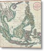1801 Cary Map Of The East Indies And Southeast Asia  Singapore Borneo Sumatra Java Philippines Metal Print