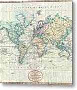 1801 Cary Map Of The World On Mercator Projection Metal Print