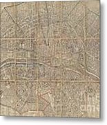 1802 Chez Jean Map Of Paris In 12 Municipalities France Metal Print