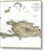 1802 Tardieu Map Of Santo Domingo Or Hispaniola West Indies Metal Print