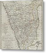 1804 German Edition Of The Rennel Map Of India Metal Print