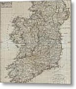 1804 Jeffreys And Kitchin Map Of Ireland Metal Print