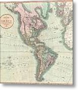 1806 Cary Map Of The Western Hemisphere  North America And South America Metal Print
