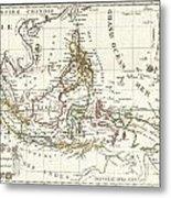 1810 Tardieu Map Of The East Indies Singapore Southeast Asia Sumatra Borneo Java Metal Print