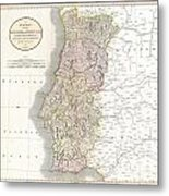 1811 Cary Map Of The Kingdom Of Portugal Metal Print