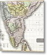 1814 Thomson Map Of India Metal Print
