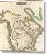1814 Thomson Map Of North America Metal Print
