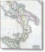 1814 Thomson Map Of Southern Italy Metal Print