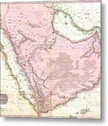 1818 Pinkerton Map Of Arabia And The Persian Gulf Metal Print