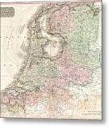 1818 Pinkerton Map Of Holland Or The Netherlands Metal Print