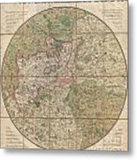 1820 Mogg Pocket Or Case Map Of London Metal Print