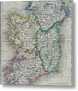 1822 Butler Map Of Ireland Metal Print