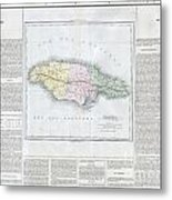 1825 Carez Map Of Jamaica  Metal Print