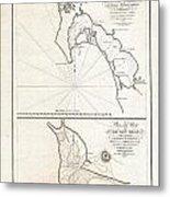 1825 Victoria Map Of San Diego California And San Blas Mexico  Metal Print