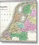 1827 Finley Map Of Holland Or The Netherlands Metal Print
