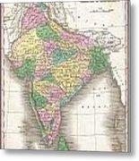 1827 Finley Map Of India  Metal Print