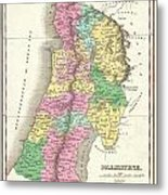 1827 Finley Map Of Israel  Palestine Holy Land Metal Print