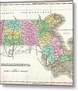 1827 Finley Map Of Massachusetts Metal Print