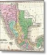 1827 Finley Map Of Mexico Upper California And Texas Metal Print