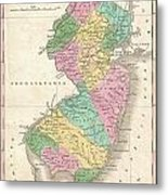 1827 Finley Map Of New Jersey  Metal Print