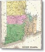 1827 Finley Map Of Rhode Island Metal Print