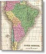 1827 Finley Map Of South America Metal Print