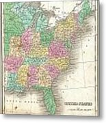 1827 Finley Map Of The United States Metal Print