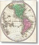 1827 Finley Map Of The Western Hemisphere Metal Print