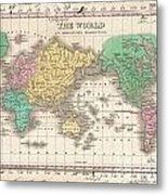 1827 Finley Map Of The World Metal Print