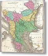 1827 Finley Map Of Turkey In Europe Greece And The Balkans Metal Print