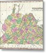 1827 Finley Map Of Virginia Metal Print