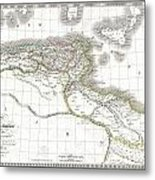1829 Lapie Historical Map Of Empire Of Carthage Metal Print