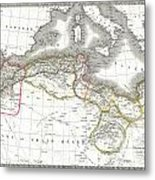 1829 Lapie Map Of The Eastern Mediterranean Morocco And The Barbary Coast Metal Print